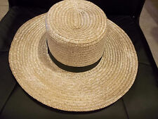 BRAND NEW GENUINE Pennsylvania  AMISH HAND MADE STRAW HAT MEN'S SIZE 7 1/8  inch