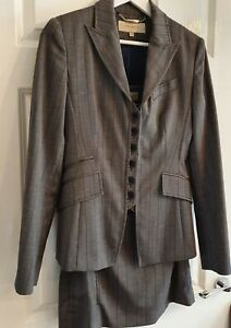 Karen Millen Grey Blue Striped Skirt Lined Wool Blend Suit Size 12.