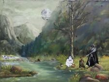Michael Hill 1974- American POP ART Darth Vader w/ Stay Puft Oil Painting LISTED