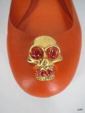 $549 ALEXANDER MCQUEEN 5 Orange Leather Skull Crystal Ballet Flats Italy 35 EUC