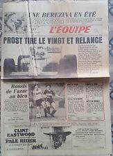 L'Equipe Journal 19/08/1985; Désillusion Athlète Français/ Prost/ Bossis/ Kamoun