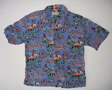 BECK SPORT Bright Blue HAWAIIAN SHIRT Button-Front Size Men LARGE Summer Beach