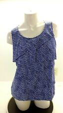CHICO'S WOMEN'S PURPLE & WHITE DOTTED LAYERED RUFFLE TOP SIZE 2