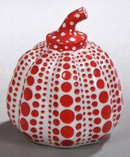 Yayoi Kusama 'Pumpkin' Sculpture Multiple Paperweight Wht w Red Spots 4x3.25 Nib