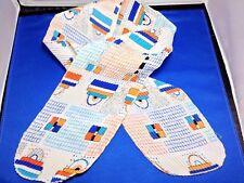 "Scarf Vintage Pleated Neck Head Tie Purses Pocket Book Orange Blue Retro 50X6"""