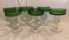 Set of 6 Green Rim Mexican Glassware Margarita Glasses Clear Ball Stem Barware