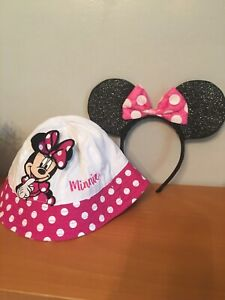 Toddler Girls Disney Infant Minnie Mouse Hat Plus Minnie Ears 🌺 Euc