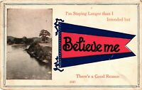 Vintage Postcard - I stay Longer Than I Intended Posted #1318