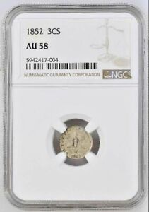 1852 Three Cent Silver Type 1 NGC AU-58 ~ Free Shipping