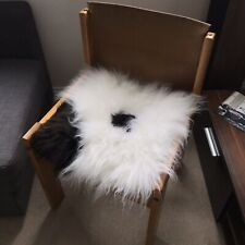 100% Real Sheepskin Seat Pad British Square 37cm White Cream Brown Spotted UK