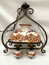 Vintage Italian Farmhouse Kitchen Hanging Lamp Ceramic/Metal Dual Light
