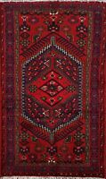 Tribal Geometric 3'x5' Hamedan Area Rug Wool Hand-knotted Oriental Foyer Carpet