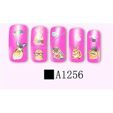 Nail Art Water decals Stickers Transfers Easter Bunny Rabbits Kawaii (A1256)