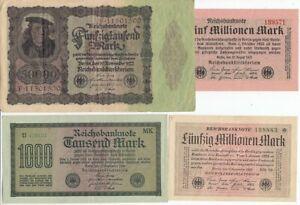 Deutsches Reich Lot 20 Banknoten gebraucht