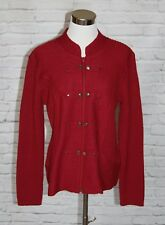 Orvis Sweater Cardigan Military Style Jacket Burgundy Boiled Wool M Medium #47