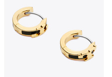 Tory Burch SERIF-T ENAMEL HUGGIE HOOP EARRINGS black