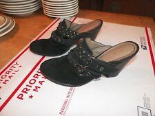 "Nicole Women's Black Suede Open Back Clogs Heels Shoes Size 7 1/2 M Heel 3 1/2"""
