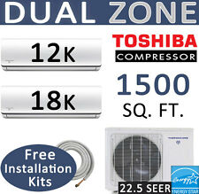 30000 BTU Dual Zone Ductless Mini Split Air Conditioner Heat Pump, 12000 + 18000