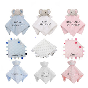 Personalised/Non personalised Baby Elephant & Teddy Comforter /Blanket Gift -toy