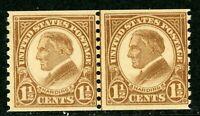USA 1925 Harding 1½¢ Perf 10 Rotary Coil Line Pair Scott #598 MNH I812 ⭐⭐⭐⭐⭐⭐