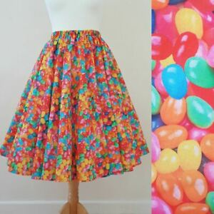 1950s Circle Skirt Jelly Bean Party All Sizes - Rainbow Sweets Quirky Rockabilly