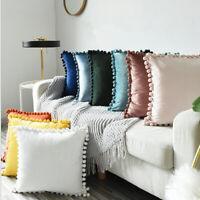 45x45cm  Luxury Pom-poms Cushion Cover Particle Velvet Soft Solid Pillow Cases