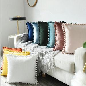 45x45cm Luxury Pom-poms Cushion Cover Soft Particle Velvet Solid Pillow Case