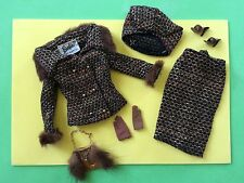 VTG BARBIE SATURDAY MATINEE #1615 EC+/C~BROWN SHORT GLOVES PURSE~TWEED FUR TRIM