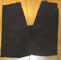 Talbots Womens Pants Cotton Stretch Dark Brown Size 14 Casual Leg Button Detail