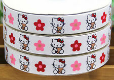 5yds 7/8'' (22mm) Hello Kitty printed grosgrain ribbon Hair bow diy Y706