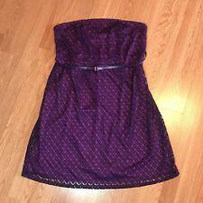 Lane Bryant Women's Strapless Cutout Overlay Dress Size 16 Purple Stretch
