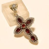 Burmese Ruby Christian HolyCross Pendant 925 Sterling Silver Mothers Jewelry New