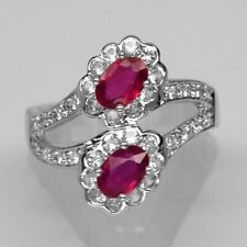 6x4mm Natural 2pcs Rich Red Ruby Ring With White Topaz in 925 Sterling Silver