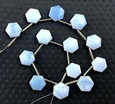 Natural Blue Opal Gemstone Faceted Hexagon Shape Briolette Beads Peruvian Blue