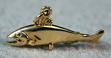 Gold Charm Nice 3D Animal Salmon Fish 14K - 3 grams