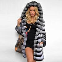 Top Women's Chinchilla Full Pelt Real Rex Rabbit Fur Coat Hooded Jacket Overcoat