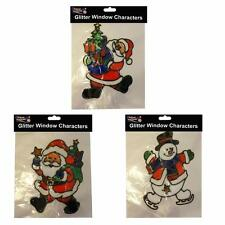 3 Christmas Glittery Window Clings - 2 Santa & 1 Snowman Design