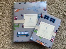 POTTERY BARN KIDS Brody Vehicles Gray TWIN Duvet Cover & STANDARD Sham -  NEW