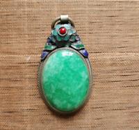 Chinese handwork tibet-silver inlay old green jade Cloisonne blue Flower Pendant