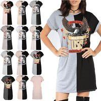 Womens Ladies Contrast Rock America Turn Up Sleeve Long Oversized T Shirt Dress