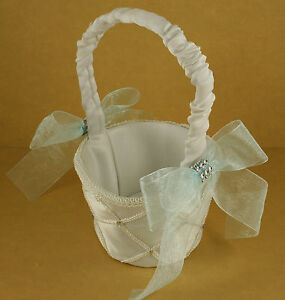 IVORY Flower Girl Basket with Organza Bow & Faux Rhinestone Accent CHOOSE COLOR