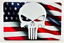 """WAVY AMERICAN FLAG with PUNISHER, Aluminum Trailer Hitch plug Cover, UV, 4"""" X 6"""""""