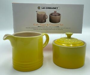 Le Creuset Cafe Covered Sugar and Creamer Stoneware Set Soleil 300ml-350ml