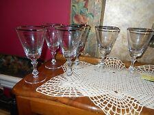 Set of 6 Elegant Crystal Platinum Rimmed Wine Sherry Cordial  Liqueur Glasses
