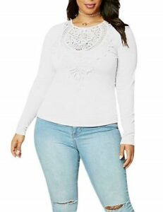 White Stretch Fitted Crochet Lace Design Top Plus Size XL 2XL 3XL