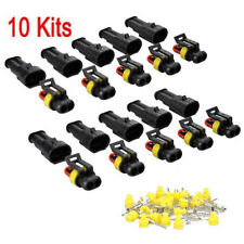 10 Kits 2Pin Way Sealed Waterproof Electrical Wire Connector Plug Car Auto EP
