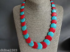 COLLIER TOUR DE COU PERLE PLATE HOWLITE BLEU TURQUOISE ROUGE BLUE RED NECKLACE