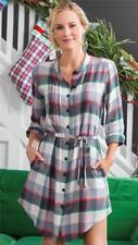 Matilda Jane COMING TO TOWN Shirt Dress Plaid Rayon Belt Pleat Large Womens NWT
