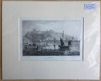 Antique Engraving Dover From The Beach At Low Water Boat Nautical Mounted c1831