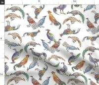 Pheasant Birds Peacock Feathers Fowl Poultry Bold Spoonflower Fabric by the Yard